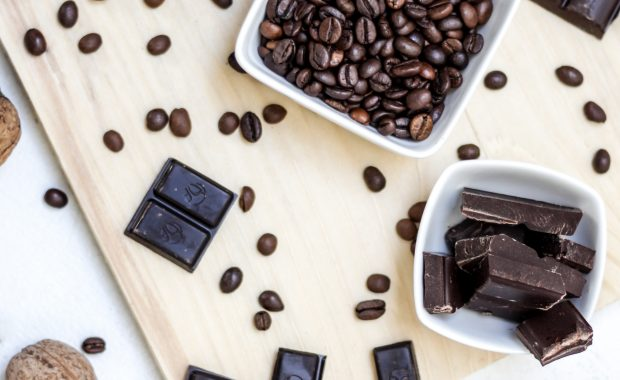 FebFast: a Table covered in chocolates and coffee beans.