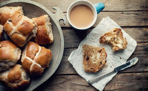 Hoot cross buns on a plate, not a healthy Easter treat